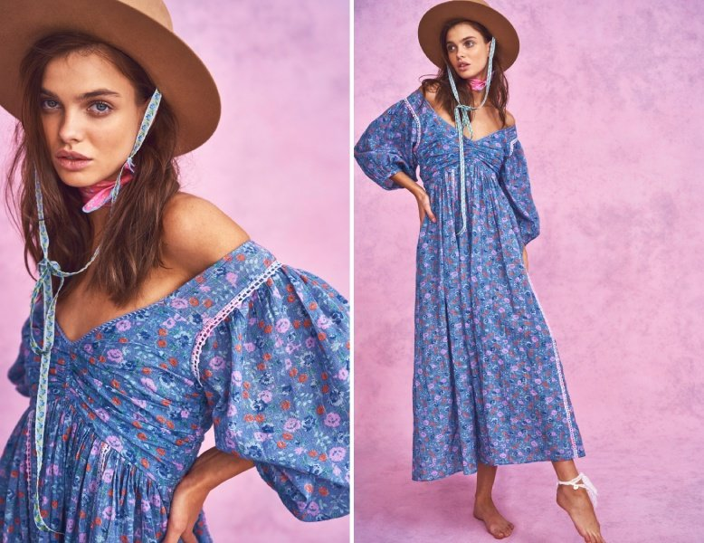 blue Roslyn dress with hat