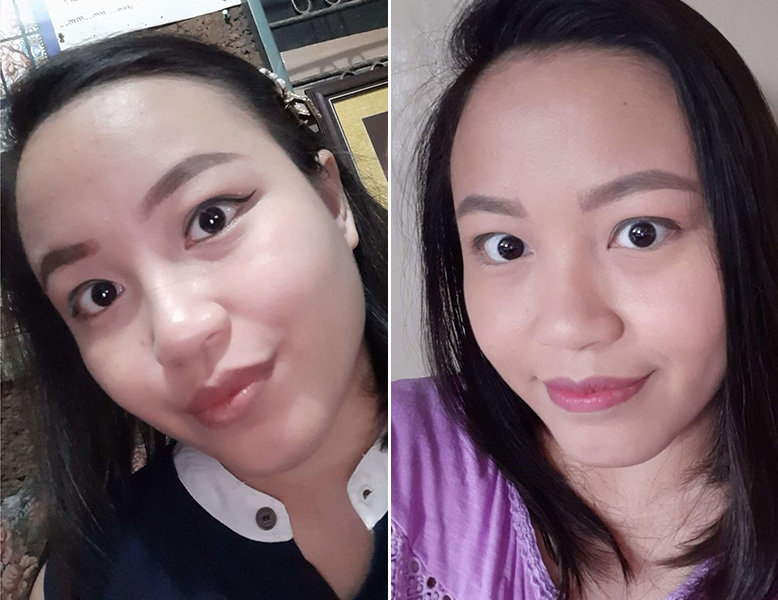 A collage comparing how the eyes look after three weeks of using the Indie Lee I-Waken Eye Serum.