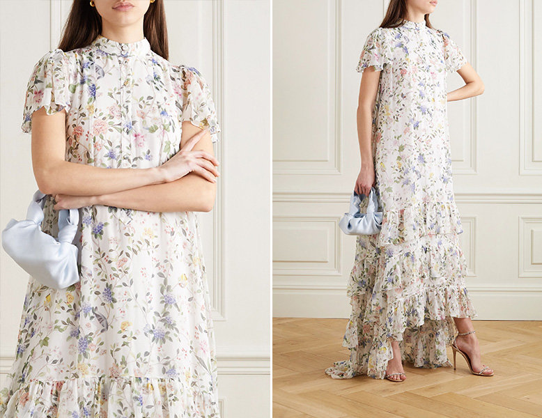 erdem ruffled silk floral dress