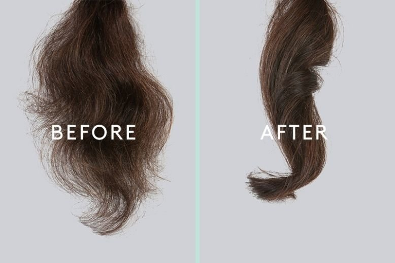 A before and after photo showing how Virtue products can reduce frizz