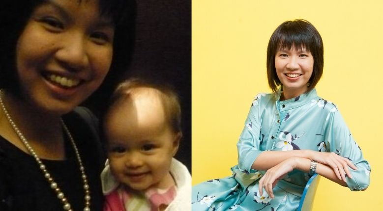 Left: Sher-li in 2009 with her daughter; Right: Sher-li at present as Mums@Work's CEO