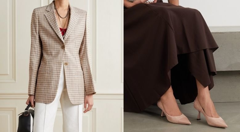 (Left) Acne Studios Cotton Blend Tweed Blazer, USD727.47 (Photo from: net-a-porter.com); (Right) Jimmy Choo Rene 65 Suede And Patent-Leather Pumps, USD644.33 (Photo from: net-a-porter.com)