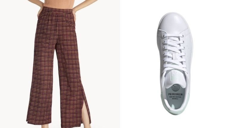 (Left) Pomelo Fashion Plaid Side Slit Pants in Orange, USD36.99 (Photo from: pomelofashion.com); (Right) Adidas Stan Smith Sneakers, PHP4,800/USD98.85 (Photo from: zalora.com)