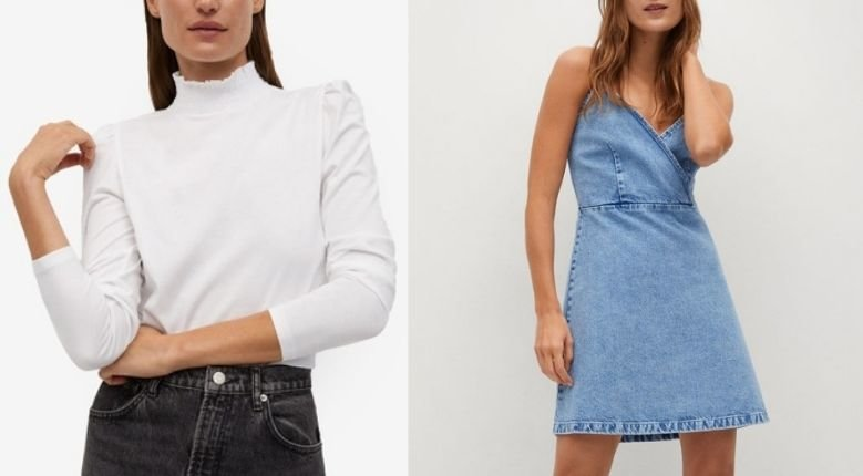 (Left) Mango Cotton Turtleneck, PHP795/USD16.37 (Photo from: zalora.com); (Right) Mango Strap Denim Dress, PHP1,595/USD32.85 (Photo from: zalora.com)