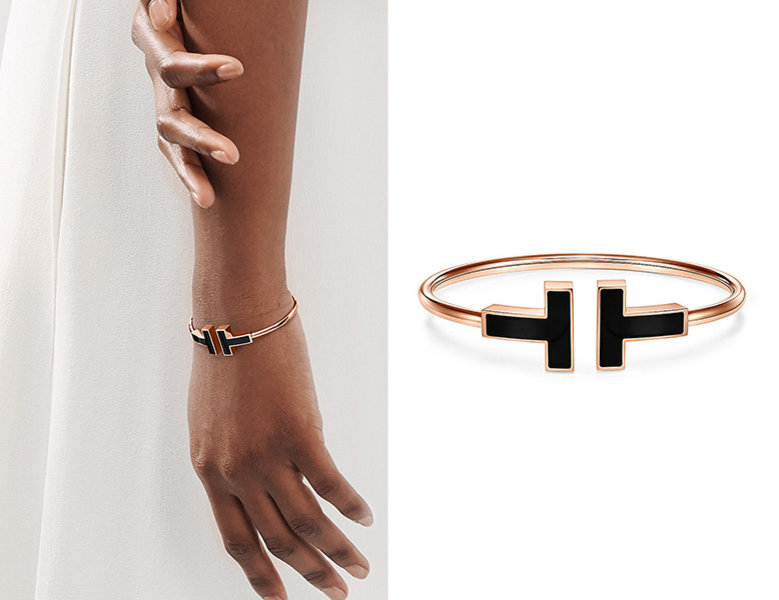 tiffany and co black onyx wire bracelet in 18k rose gold