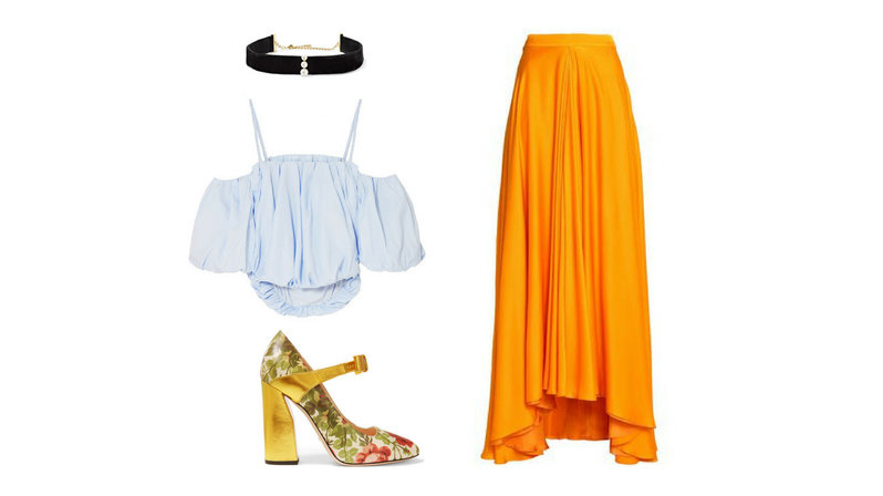 A black choker, a white cropped cold-shoulder poplin top, a floral print leather pump, and a yellow draped silk maxi skirt