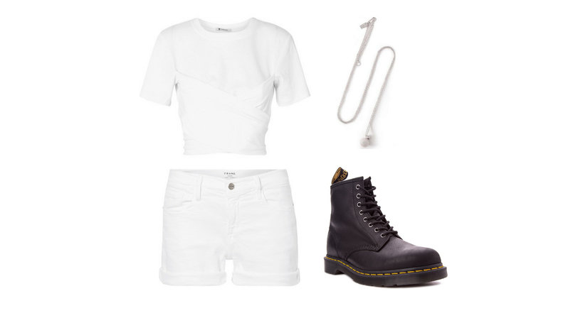 A white wrap t-shirt, a pair of white denim shorts, black laced boots, and a sphere silver-plated necklace