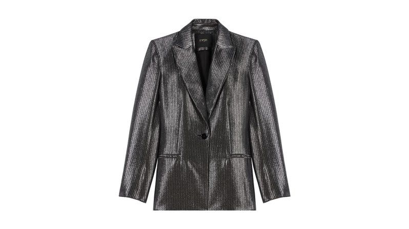 A Modern Woman's New Essentials - Maje Valery Silver Blazer