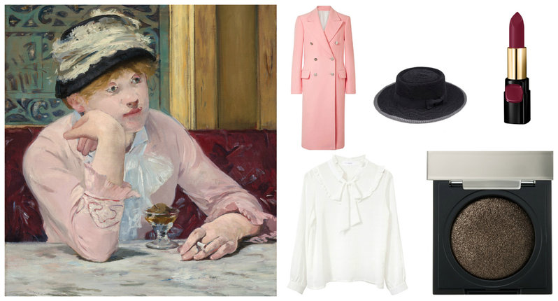 "The ""Plum Brandy"" painting, a pink cotton velvet coat, a white victorian blouse, black flat top hat with ribbon, an eye shadow, and a lipstick"