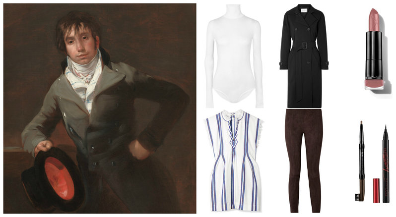 A painting of Bartolomé Sureda y Miserol, a white turtleneck bodysuit, frayed striped cotton top, suede skinny pants, black trench coat, eyebrow pencil, pen eyeliner, and a nude lipstick