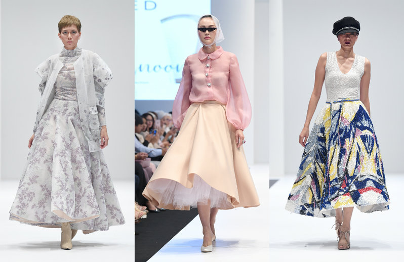 Collage of 3 outfits. First, a multi-layered floral ensemble made of billowy sheer fabrics. Second, a sheer pink long-sleeved blouse and a flouncy beige midi skirt; Third, a dress with abstract beaded embellishments.