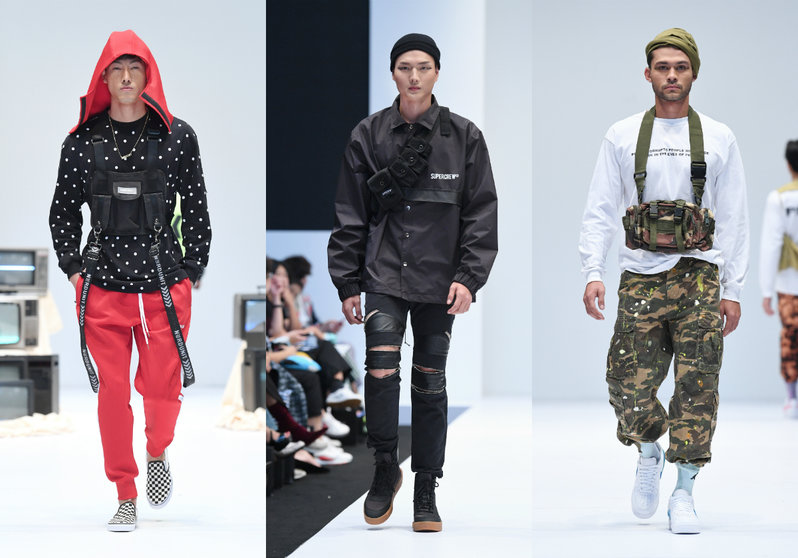 A collage of 3 outfits. First, a man wearing polka dot sweater, red hoodie and matching red pants, and a black vest bag; second, a man wearing a black polo, a black ripped jeans and a black fanny pack; third, a man wearing a white sweater, camo cargo pants, and a camo fanny pack.