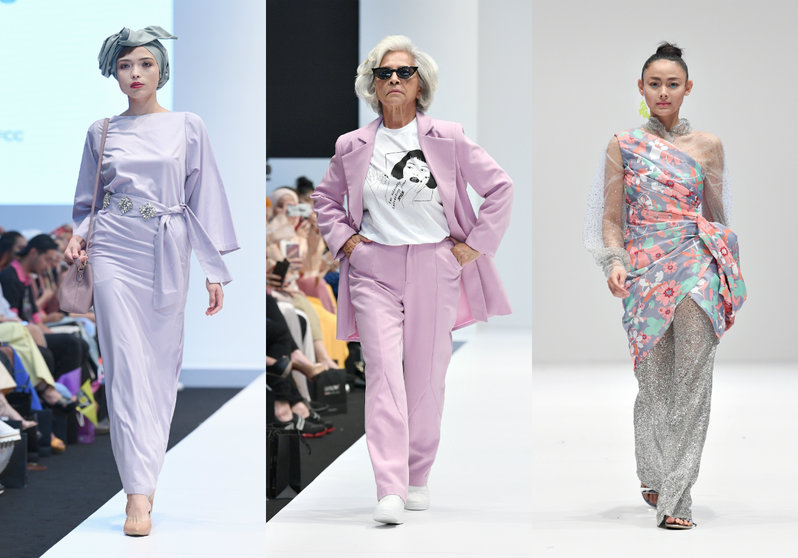 A collage of 3 looks. First, a lavender maxi dress with a bejeweled lavender ribbon tied at the waist; Second, a pink power suit worn with a white graphic tee; Third, a floral cheongsam with sheer tulle sleeves and silver glitter pants.