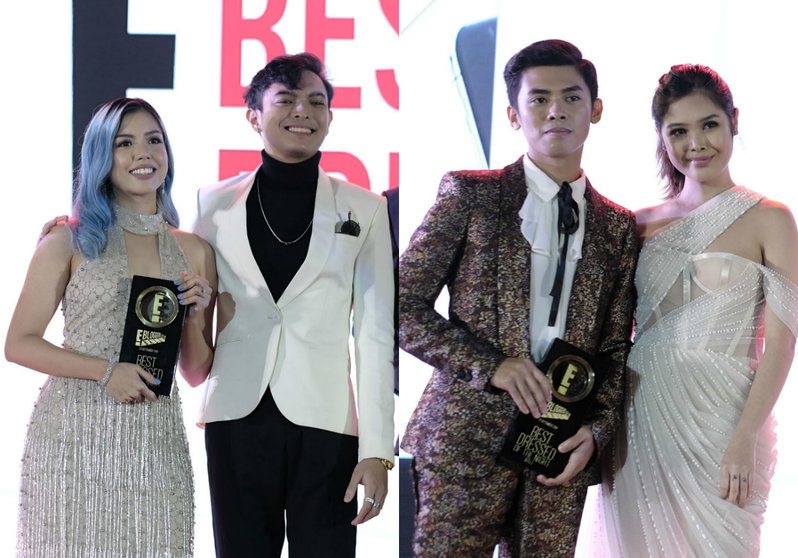 Two couples who won the Best Dressed trophy pose for the camera