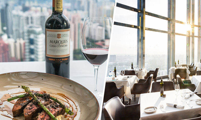 A rooftop bar and a dish paired with red wine