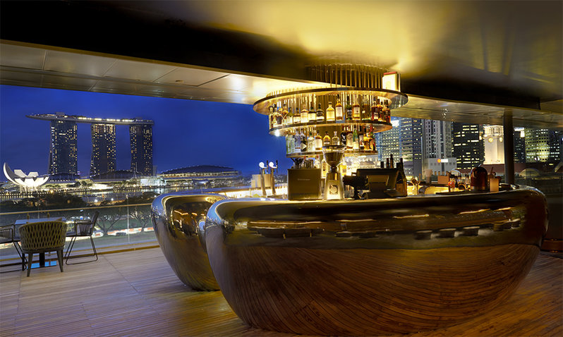 The modern interiors of a classy rooftop bar and restaurant