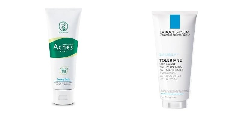This is a collage showing the Mentholatum Acnes Creamy Wash and La Roche-Posay Toleriane Caring Wash cleansers