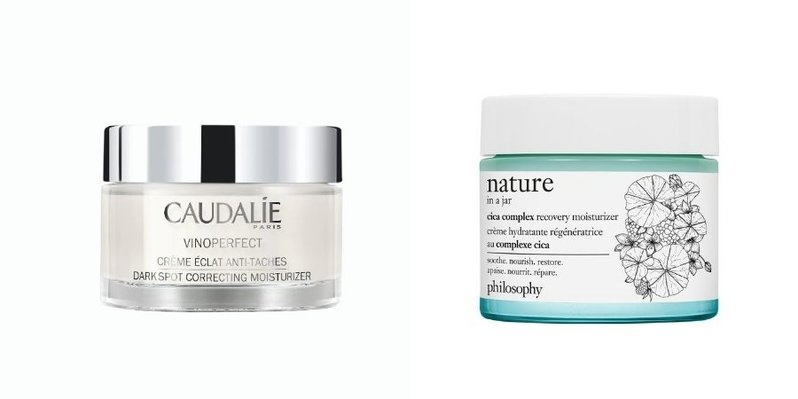A collage showing photos of the Caudalie Vinoperfect Dark Spot Correcting Moisturiser and Philosophy Nature In A Jar Cica Complex Recovery Moisturiser