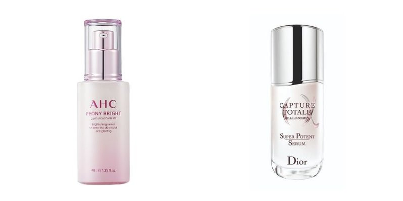 A collage showing the photos of the AHC Peony Bright Luminous Serum and Dior Capture Totale Super Potent Serum