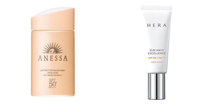 A collage showing the product photos of the Anessa Perfect UV Sunscreen Mild Milk and HERA Sun Mate Excellence Rosy Glow SPF 50+/PA++++ Face Sunscreen