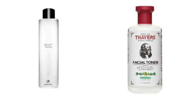 A collage showing photos of the Son & Park Beauty Water and Thayers Original Facial Toner
