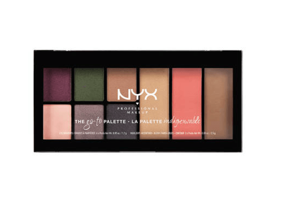 An eyeshadow palette in a black casing