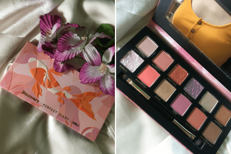 A collage of a closed and opened Perfect Diary Discovery Explorer Fancy Carp Eyeshadow Palette