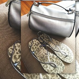 Saturday Essentials! #havaianas #charlesandkeith #metallics #silver