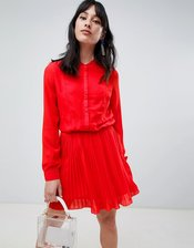 Unique 21 button pleat skirt dress-Red