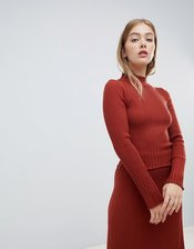 ASOS DESIGN two-piece lettuce trim sweater-Red