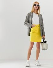 b.Young color block denim skirt-Yellow
