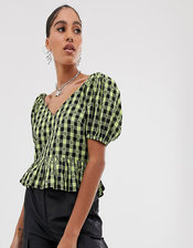 COLLUSION gingham short sleeve top-Green