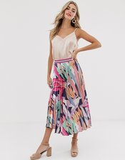 Twisted Wunder pleated skirt in abstract print-Multi
