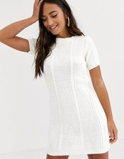 In The Style x Dani Dyer cable knit mini dress in white