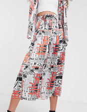 COLLUSION newspaper print pleated skirt-Multi